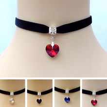 5Pcs/lset Heart Crystal Victorian Choker Necklace Vintage Goth Velvet Chokers Necklaces & Pendants For Women Jewelry #84221(China)