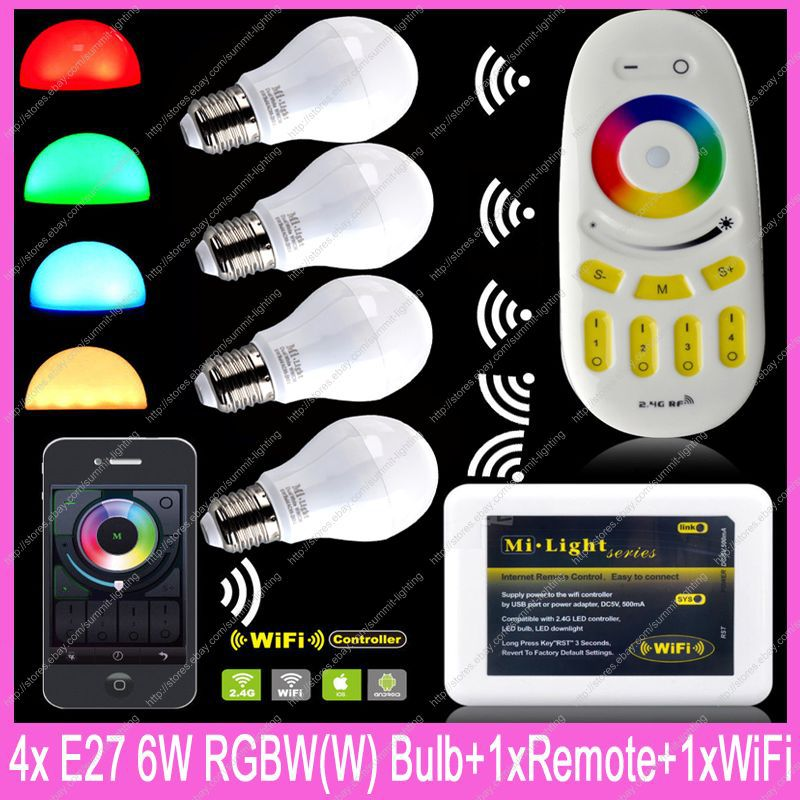4x E27 Mi.Light 6W RGBW / RGBWW WiFi LED Bulb AC85-265V +1x WiFi iBox2 + 1x 2.4G RF Wireless 4-Zone Group Touch Remote Control<br><br>Aliexpress
