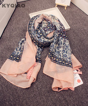 KYQIAO Designer hijab scarf women autumn winter Japanese style sweet Lolita floral print scarf muffler cape shawl wrap gifts