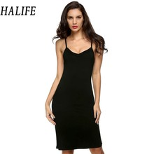 HALIFE Long Slip Summer Solid Spaghetti Strap Sleeveless Knee Length Bottoming Soft Womens Slips Underwear Jupon Femme XXL 608(China)