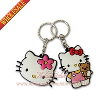 100pcs/lot Hello Kitty Cute cat  Bag decoration keychains Action Figure Key ring Hanging Accessories child gift Kids toy
