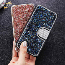KISSCASE Glitter Leather Flip Phone Case For iPhone 6 6S 7 8 Plus 5 5S SE Bling Diamond Stand Wallet Back Cover Shells Capinhas(China)