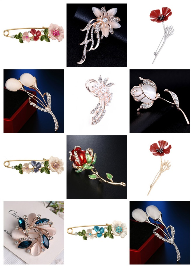 3D Vintage Flower Brooch 1pc Rhinestone Pin Collar Corsage Shirt Badge Jewelry Gift For Women 2019 New Fashion