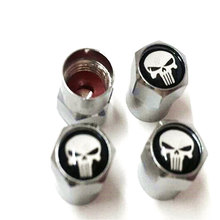 4pcs/Lot Car Truck Motorcycle Skull Logo Black Tire Valve Caps Sliver Trye Valve Caps Dust Cover Wheel Cap  for  Punisher