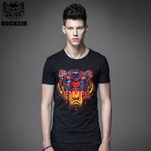 Rocksir Tiger head leopard print Men's T-shirts 100% cotton black white t shirt Summer casual Men tiger brand clothing tank Tees