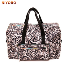 Women's Folding Travel Bag Waterproof Nylon Printing Bags Portable Boarding Bag Large Capacity Duffle Luggage Lady Weekend Totes