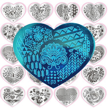 latest heart shape steel nail art stamping Templates animals/flower/lace image plate manicure tool nail silicon Stamper Scraper