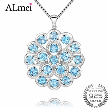 Almei 7.2ct Big 925 Sterling Silver Light Blue Topaz Crystal Stone Round Pendant Natural Rhinestone Jewelry with Chain Box CN053(China)