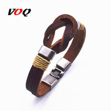 Hot Sale Vintage Bowknot Wrap Bracelet Men Jewelry Zinc Alloy Charm Genuine Leather Bracelets For Women Gifts G7-9(China)