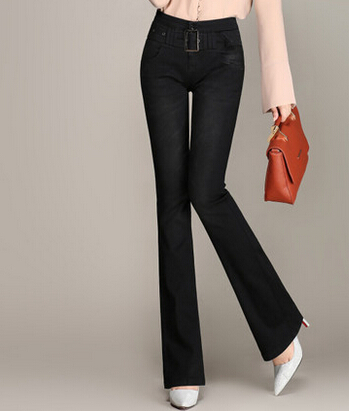 Cotton blend flare pants for women denim jeans casual plus size autumn spring high waist full length slimming sashes kpro604Одежда и ак�е��уары<br><br><br>Aliexpress