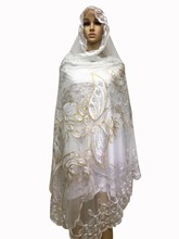 New Arrive 2016 White and Gold  Net Scraf Muslim Embroidery Big Scarf , tulle material New multifunctional scarf ,shawls wraps