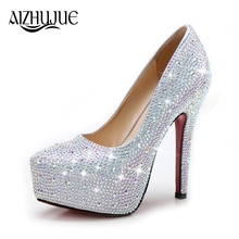 Wedding Pumps High Heels Women Shoes Party Prom Crystal Rhinestone Glitter Gorgeous Lady Sexy Bridesmaid Bridal Shoes Female