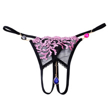 Buy Female Sexy Panties Underwear Embroidery Lace Crotchless Panties Pendant Sexy Lingerie Hot Lace Culotte Femme Briefs Thong