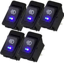 EE support 5Pcs 12V 35A Universal Car Accessories Auto Fog Light Rocker Toggle Switch Colors LED Dashboard XY01(China)