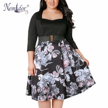 Buy Nemidor 2018 Summer Vintage Square Collar Floral Print A-line Dress Casual 3/4 Sleeve 8XL Party Midi Swing Plus Size Dress for $21.99 in AliExpress store