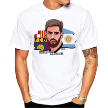 2018 Lionel Messi Shirts Barcelona Men's Short sleeve Messi T-shirts 100% cotton tshirt Tops Argentina jersey for fans tee shirt(China)
