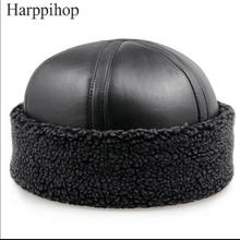 2017 New mens and women genuine sheepskin  Beanie hats  Black Sheepskin warm fur caps gift hats for mum free shipping