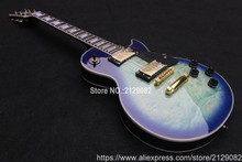 Custom shop sea blue LP guitar,wholesale OEM guitar,100% Mahogany Body,accept customize electric guitar(China)
