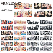 BN133-144 sexy Marilyn Monroe nail sticker water decal red lips & golden hair satr nail art decorations water transfer