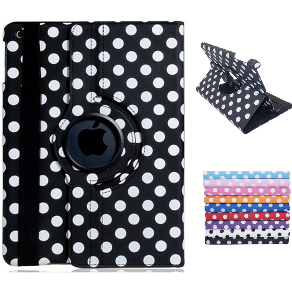 Polka Dot Print 360-Degree Rotation Faux Leather Flip Case with Stand for iPad Air 2<br><br>Aliexpress