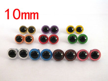 free shipping!!! 100pcs/lot 10mm Non-toxic safety eyes bear eyes with washer top quality 10 color , mixed color toy eyes(China)