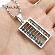 AMUMIU 2017 Fashion New Abacus Pendant Necklace 316L Stainless Steel Geometric Maths number High Quality Wholesale HZP174