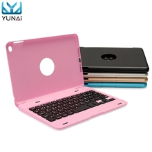 YUNAI Aluminium Ultra Slim Portable Wireless Bluetooth 3.0 Keyboard Case Cover Holder For iPad Mini 4 New 7.9inch Cover Case(China)