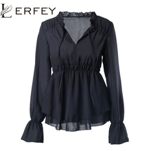LERFEY Women Summer Style Chiffon Shirts Casual Puff Sleeve Blouse Shirt V Neck New Tops White Black Ladies Blusas Slim Clothes(China)