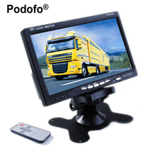 "Podofo 7"" TFT Color LCD Headrest Car Parking Rear View Reverse Monitor With 2 Video Input 2 AV In For DVD VCD Reversing Camera(China)"