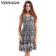 Vinnago Cotton Summer Dresses Sundress Short Casual Women's Dresses Vintage Patterns Printed Day Party Beach Sun Dress for Lady