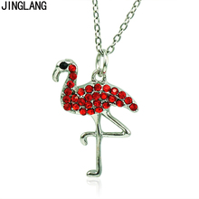 JINGLANG Fashion Animal Pendant Necklace Link Chain Rhinestone Flamingo Charms Necklace For Women/Children Jewelry Gifts(China)