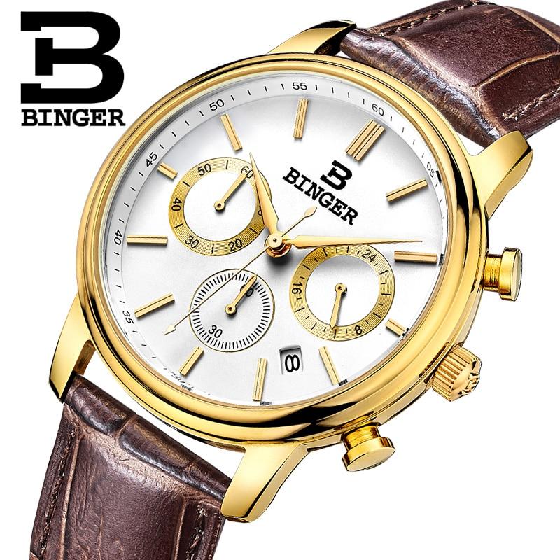 Switzerland BINGER mens watch luxury brand Quartz waterproof Chronograph Stop Watch leather strap Wristwatches B9005-4<br>