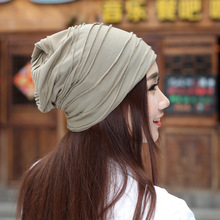 2017 Sale Cotton Beanie New Spring Summer Wrinkle Pure Color Three Use Cap Head Maternity Knitted Hat Manufacturer Wholesale(China)