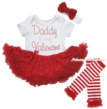 Daddy Is My Valentine White Bodysuit Girls Red Rose Baby Dress Leg Warmer NB-18M(Hong Kong)