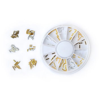 ZKO 1 wheel Latest Japanese Style Nail Art Jewelry Decoration Gold Silver Bar DIY Foil Nails Fashion Tips#YZW-JYT