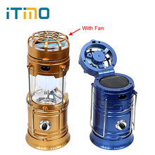 iTimo LED Flashlight Emergency Hand Lantern Solar Powered Outdoor Camping Hiking Lamp Portable USB Phone Charge with Fan Folding(China)