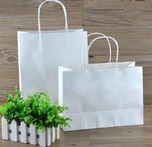 ROCOHANTI 100PCS White Kraft Paper Bags Top Quality Paper Shopping Bags Custom Printed Your LOGO
