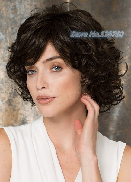 Women Fashion Dark Brown short Curly hair wig full wigs Free shipping<br><br>Aliexpress