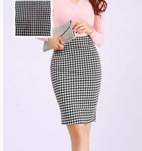 Vintage medium-long h high waist elastic knitted houndstooth slim hip bust skirt pencil step skirt tight skirt female