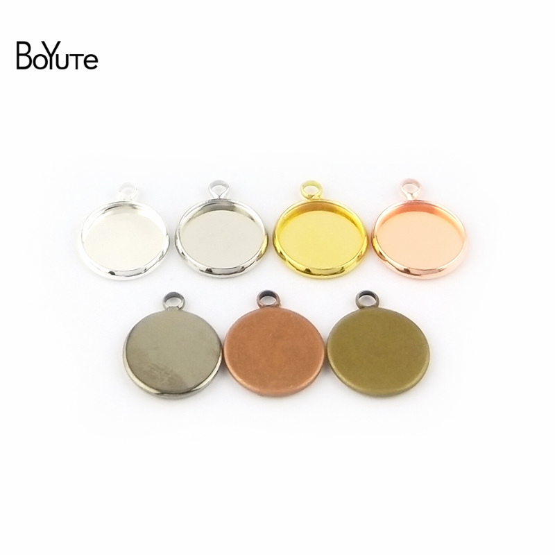 BoYuTe 50Pcs 6 Colors Plated Round 10MM 12MM 14MM 16MM 18MM 20MM 25MM Cameo Cabochon Base Diy Blank Tray Pendant Base (1)
