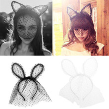 Costume Party Headband Sexy Lace Veil Mask Bunny Dot Cat Ears Hairband Headdress Head Accessories