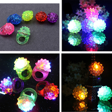 5Pcs LED Finger Ring Dazzle Flashing Glowing Ring Soft Silicone Strawberry Colorful Lights Toy Xmas Holloween Wedding Gift Decor