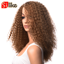 Silike Kanekalon Wigs Long Afro Kinky Curly Wig Medium Brown Synthetic Wigs for Black Women African Hairstyle(China)