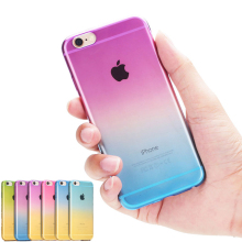 Gradual Change Transparent Gradient Color Soft Back Case Rubber Cover For Apple iphone 4 4s 5 5s SE 5SE 6 6s 7 Plus