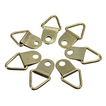 MTGATHER 100Pcs Universal Strong Golden D Rings Decor Picture Frames Hanger Hooks Hanging Triangle Screws Helper Best Price(China)
