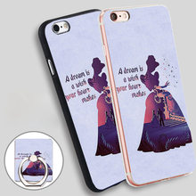 Cinderella Quotes About A Dream Phone Ring Holder Soft TPU Silicon Case Cover for iPhone 4 4S 5C 5 SE 5S 6 6S 7 Plus