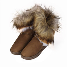 2017 Hot Sale Fashion Womens Lady Winter Warm Snow Boots Shoes Coffee Fur Leather Ladies Warm Shoes for Winter Popular Wholesale