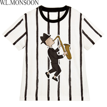 W.L.MONSOON Boy T shirt for Kids Clothes 2017 Brand Summer Boys Tops Children Tee Shirt Enfant Garcon Kids Striped Jazz T-Shirt