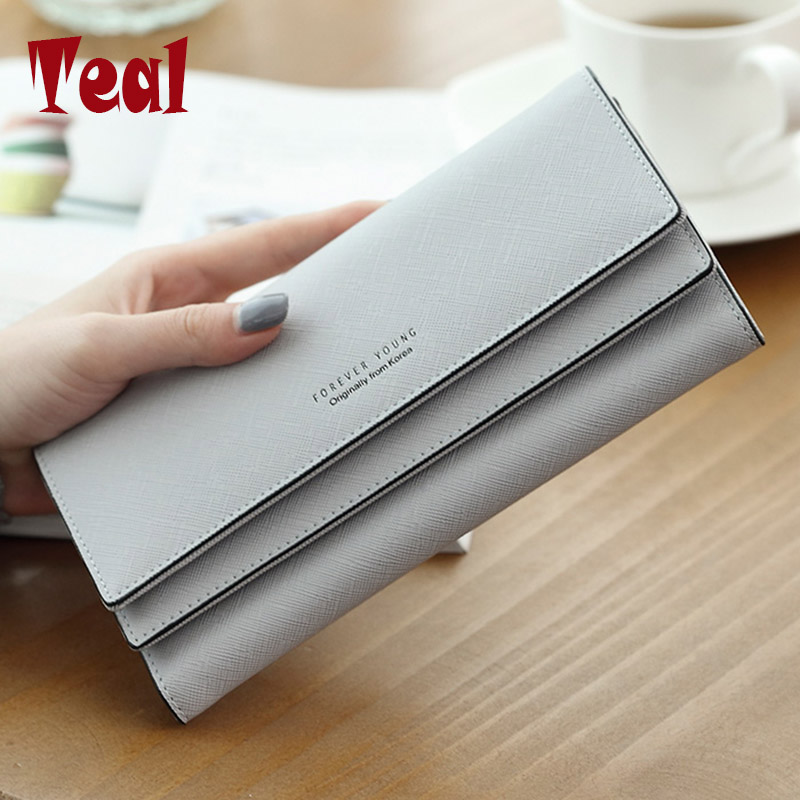 Women's purse women wallet women card holder coin purse coin female wallet long large capacity wallet female clutch 3 folders(China)