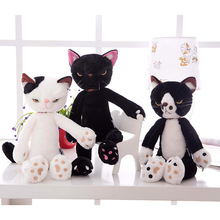 New arrival 40-55cm Large Size black white cat plush toy cat doll soft pillow toy Kids birthday present Christmas simulation cat